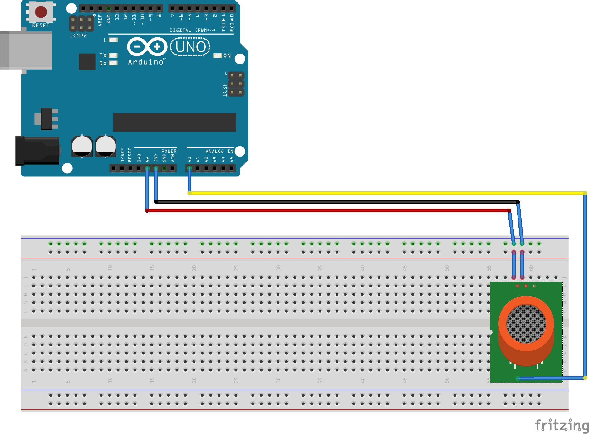 Arduino Gas Sensor Circuit Diagram Uno Wire Diagrams Mq2 Smoke Built With An Using Air Quality Hackerscapes R3 Board Bb