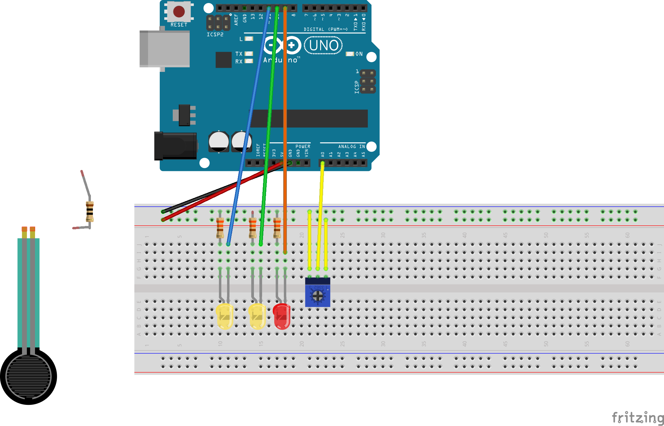 Lighting Multiple Leds With Sensors Force Sensitive Resistor Or That Allows You To Control And Vary The Resistance It Insert Potentiometer On Breadboard Connect Jumper Wires From Arduino Board As Shown In Diagram Above