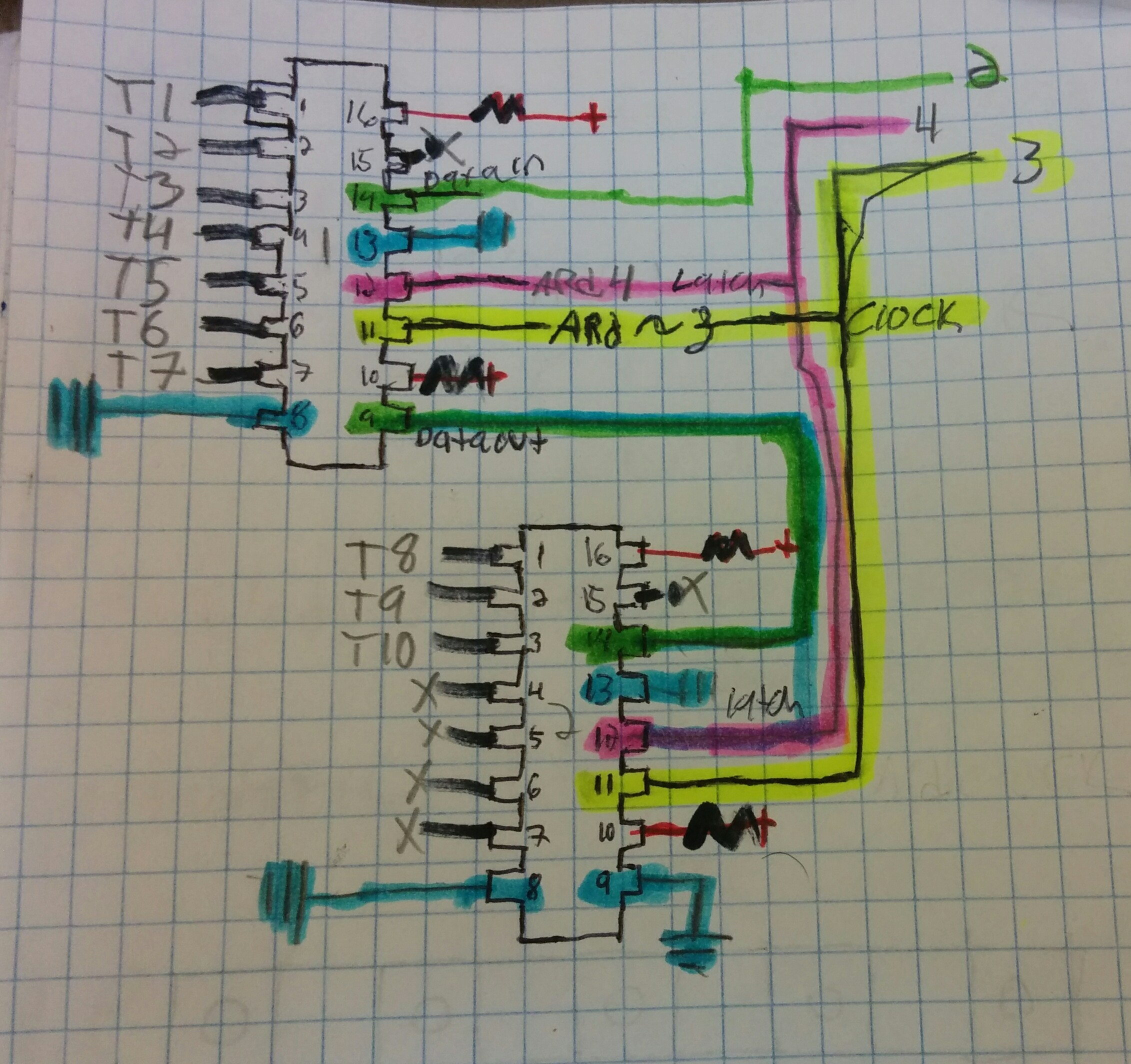 How To Build A 5x5 Led Matrix Hackerscapes Shift Register Breadboard Circuit Daisy Chain